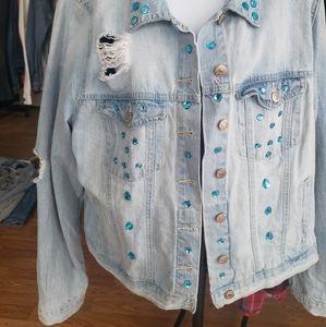 Embellished distressed denim jacket
